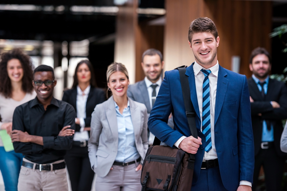 young multi ethnic business people group walking standing and top view-2